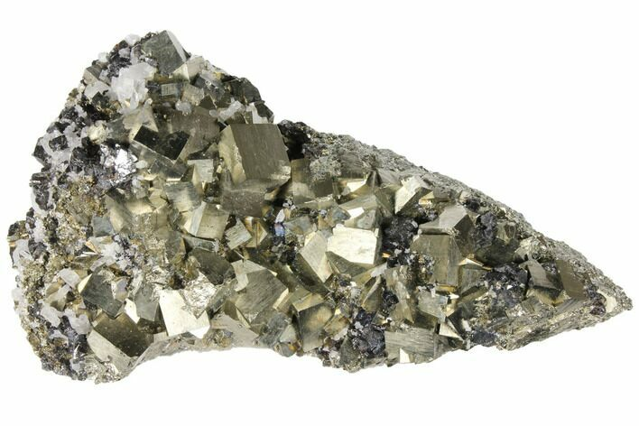 "8.8"" Cubic Pyrite, Sphalerite & Quartz Crystal Association - Peru"